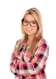 Cute Blonde Girl with plaid shirt and glasses Stock Photography