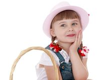 Cute blonde girl with short pigtails and hat Royalty Free Stock Photos