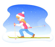 Cute blonde girl skiing. Colorful winter theme illustration - a cute blonde girl skiing Stock Images