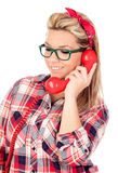 Cute Blonde Girl talking on the phone Royalty Free Stock Photo