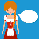 Cute blonde girl in traditional german dress. Dirndl with pigtail and blank speech bubble. Vector flat character illustration for Oktoberfest and beer bars Royalty Free Stock Photo