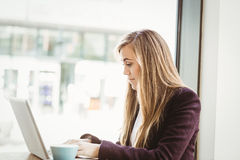Cute blonde girl using her laptop Stock Images