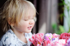 Cute blonde hair toddler smelling flowers at the home. Toddler boy looking on pink tulips stock photos
