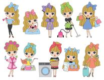 Cute Blonde Haired Girl. Vector Illustration of cute blonde haired girl in routine activities such as working out, studying, doing laundry, cooking, vacuuming Stock Photos