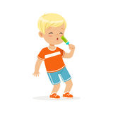 Cute blonde little boy character eating ice cream cartoon vector Illustration. On a white background Stock Photos