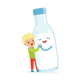 Cute blonde little boy and funny milk bottle with smiling human face playing and having fun, healthy childrens food. Cartoon characters vector Illustration on a Royalty Free Stock Photography