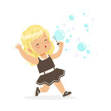 Cute blonde little girl blowing bubbles vector Illustration royalty free illustration