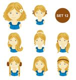 Cute blonde little girls with various hair style. stock illustration