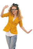 Cute blonde model with glasses dancing Stock Photography