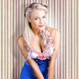 Cute Blonde Pin-Up Girl With Cheeky Smile Stock Photos