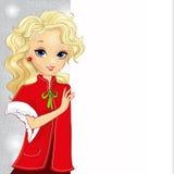 Cute Blonde Santa Gir Holding A Banner Royalty Free Stock Photo