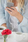 Cute blonde sending a text message in cafe Stock Photos