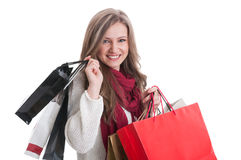 Cute and blonde shopping girl Royalty Free Stock Photo