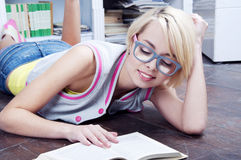 Cute blonde student girl Stock Photos