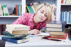 Cute blonde student girl Stock Images