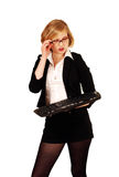 Cute blonde technology confusion Royalty Free Stock Photos