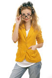 Cute blonde teen model with glases 2. Cute blond teen model with glasses. Looking at the camera.Isolated on white Stock Photo