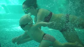 Cute blonde toddler in protective glasses is diving under the water together with his mother in the swimming pool trying. To take out his toy. His mother is stock footage