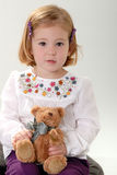 Cute blonde toddler with teddy Royalty Free Stock Images