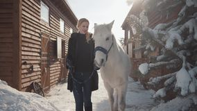 Pretty blonde walks with a beautiful white horse leading her holding a stirrup over a snow-covered country ranch. Cute blonde walks with a beautiful white horse stock footage