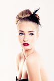 Cute Blonde Woman. Blond Hair and Makeup Stock Images