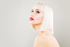 Cute Blonde Woman Fashion Model with Blonde Bob Hair Royalty Free Stock Images