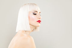 Cute Blonde Woman Fashion Model with Bob Hairstyle Royalty Free Stock Photo