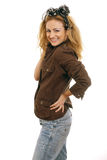 Cute blonde woman laughing Royalty Free Stock Photos