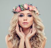 Cute Blonde Woman with Long Blonde Hair and Makeup stock images