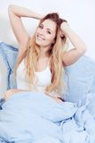 Cute blonde woman in the morning Royalty Free Stock Image