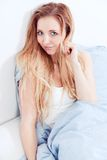 Cute blonde woman in the morning Royalty Free Stock Photo