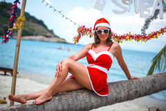 Cute blonde woman in red dress, sunglasses and santa hat sitting on palm tree at exotic tropical beach. Holiday concept Stock Images