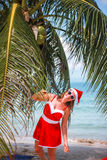 Cute blonde woman in red dress, sunglasses and santa hat stands at palm tree on exotic tropical beach. Holiday concept Stock Image