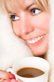 Cute blonde wth cup Stock Photo