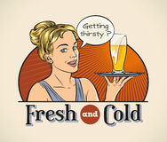 Cute blondie. Cute cheerful blondie with a pint of beer on a tray. Editable layered vector Royalty Free Stock Photos
