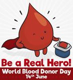 Blood Drop like a Hero for World Donor Day, Vector Illustration. Cute blood drop winking you with cape like a superhero promoting blood donation during World stock illustration
