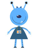 Cute blue alien cartoon with camera Royalty Free Stock Photography