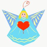 Cute blue angel with a heart in his hands.  vector illustration