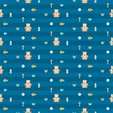 Cute blue baby boy seamless pattern Stock Images