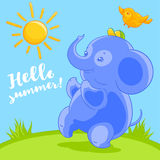 Cute blue baby elephant and the pretty bird in cartoon style happy summer on the green lawn. Royalty Free Stock Photography