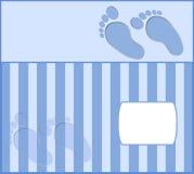 Cute blue baby photo frame. Blue feet Royalty Free Stock Photo