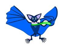 Cute blue bat brushing teeth Royalty Free Stock Images