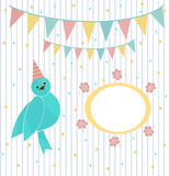 Cute blue bird on a background of festive garland and frame Royalty Free Stock Photo