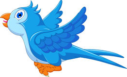 Cute blue bird cartoon flying Stock Photography