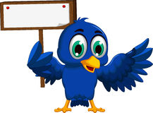 Cute blue bird cartoon holding blank board Royalty Free Stock Photos