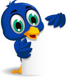 Cute blue bird cartoon holding blank sign Stock Photography