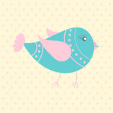 Cute blue bird, cartoon style Royalty Free Stock Image