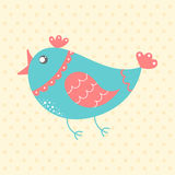 Cute blue bird, cartoon style Stock Photography