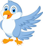 Cute blue bird cartoon waving Stock Image