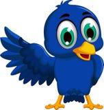 Cute blue bird cartoon waving Stock Images